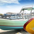 Boats colorful in Isla Mujeres beach Mexico — Stock Photo