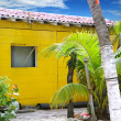 Caribbean tropical yellow beach wooden house — Foto de Stock