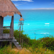 Caribbean zip line tyrolean turquoise sea — Photo