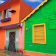 Colorful Caribbean houses tropical Isla Mujeres — Stock Photo