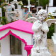 Caribbean cemetery catholic angel saints figures — Stock Photo