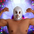 Mexican wrestling mask silver fighter gesture — Stock Photo #5283576