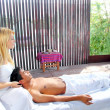 Cranial sacral massage therapy in Jungle cabin — Stock Photo