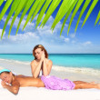 Beach massage meditation shiatsu elbows pressure — Stock Photo