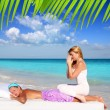 Caribbean beach massage meditation shiatsu woman — Stock Photo #5283719