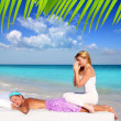 Caribbean beach massage meditation shiatsu woman — Stock Photo