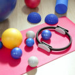 Balls pilates toning stability ring roller yoga mat — Stock Photo