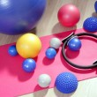 Balls pilates toning stability ring roller yoga mat - Stock Photo