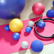Stock Photo: Balls pilates toning stability ring roller yoga mat
