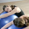 Aerobics mirror relax wompilates stability ball — Stock Photo #5283895