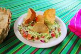 Guacamole mexican salad with nachos totopos — Stock Photo