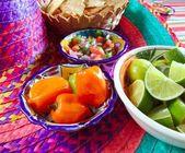 Mexican sauces pico de gallo habanero chili sauce — Stock Photo