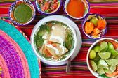 Tortilla soup and mexican chili habanero sauces — Stock Photo