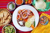 Fajitas mexican food with rice frijoles chili sauce — Stock Photo