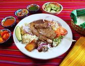 Grilled beef fillet assorted mexican dish chili sauce — Stock Photo