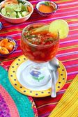 Cocktail of shrimps mexican chili sauces lemon — Stock Photo