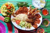 Assorted grilled seafood in Mexico tequila chili — Stock Photo