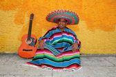 Happy mexican man typical sombrero serape guitar — Stock Photo