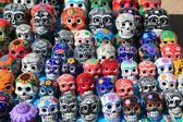 Mexican skulls colorful ceramic Day of the Dead — Stock Photo