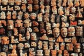 Mayan Mexico wood handcrafts in jungle — Stock Photo