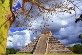 Chichen Itza dramatic sky under tree branches Mexico — Stock Photo