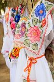 Mayan woman dress embroidery Yucatan Mexico — Stock Photo