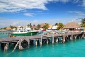 Isla Mujeres island dock port pier colorful Mexico — Stock Photo