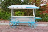 Icecream hot dogs cart white blue in Caribbean island — Stock Photo