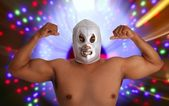 Mexican wrestling mask silver fighter gesture — Stock Photo