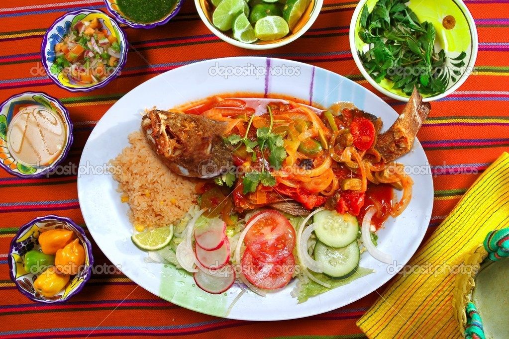 Veracruzana style grouper fish mexican seafood chili sauces — Stock Photo #5282719