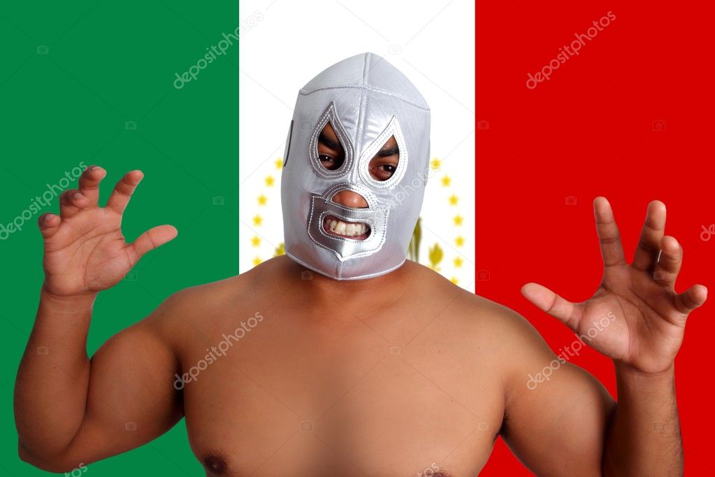 Mexican wrestling mask silver fighter gesture Mexico flag  Stock Photo #5283561