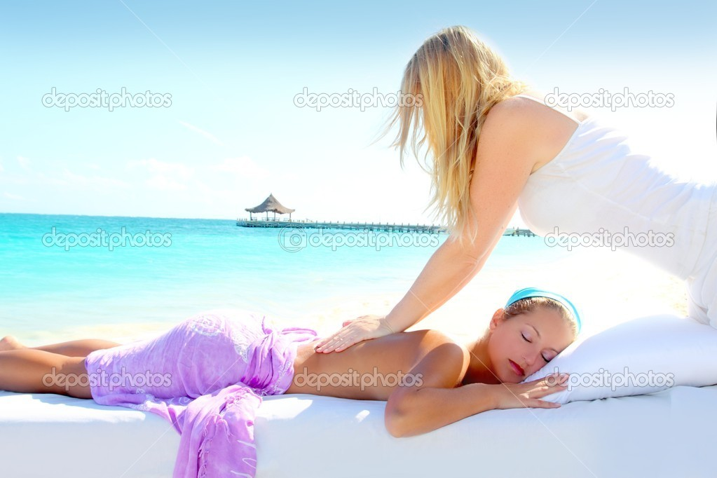 Caribbean turquoise beach chiropractic massage therapy woman  — Stock Photo #5283676