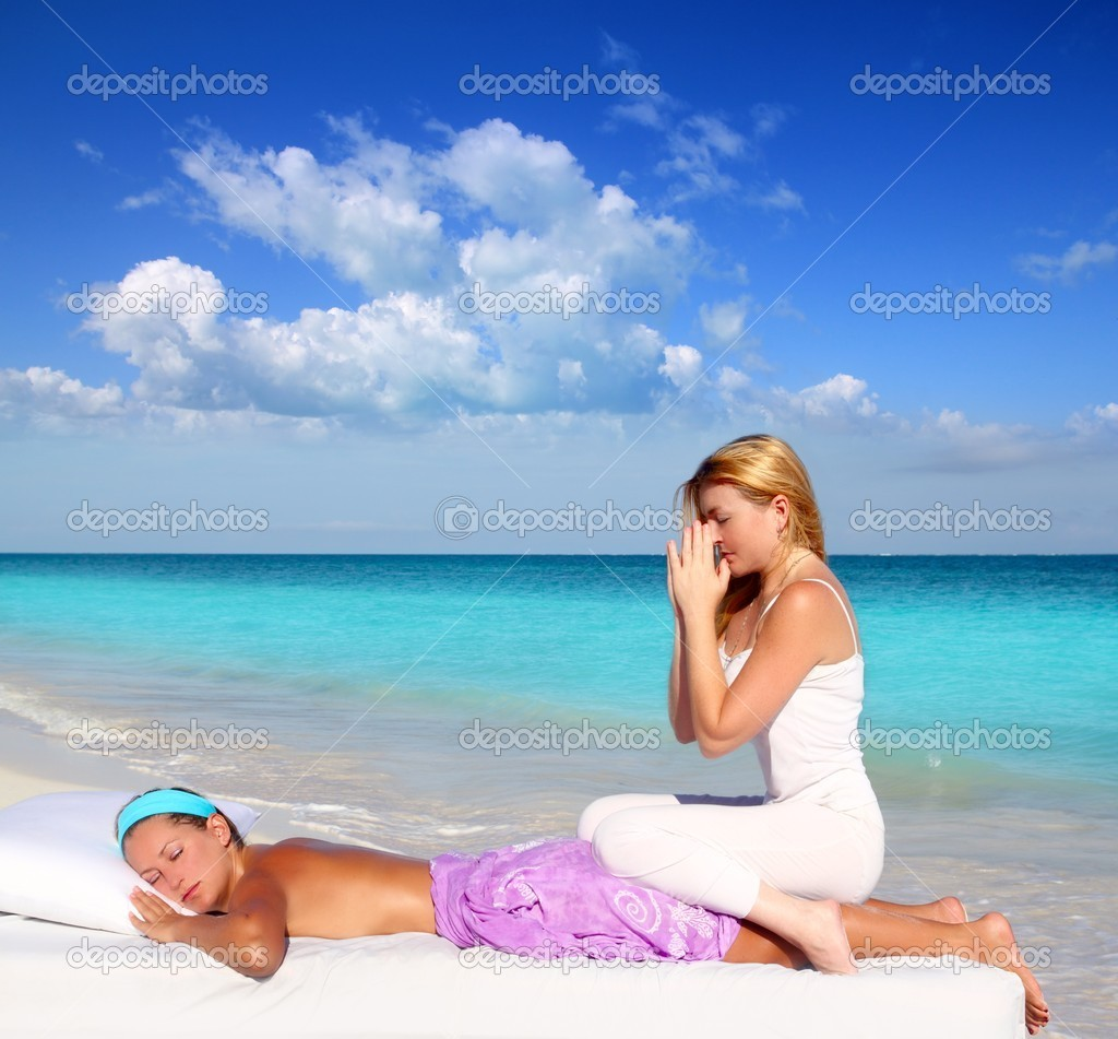 Caribbean beach massage meditation shiatsu woman in paradise — Stock Photo #5283722