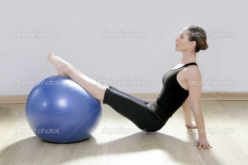 Pilates woman stability ball gym fitness yoga exercises girl — Stock Photo #5283800