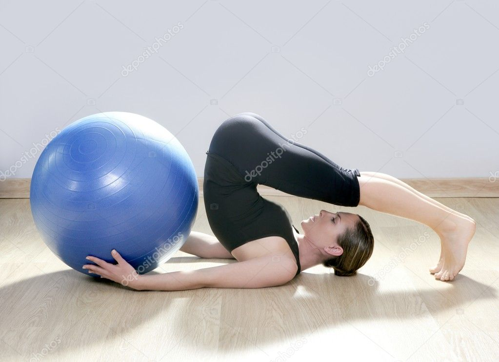 Pilates woman stability ball gym fitness yoga exercises girl — Stock Photo #5283807