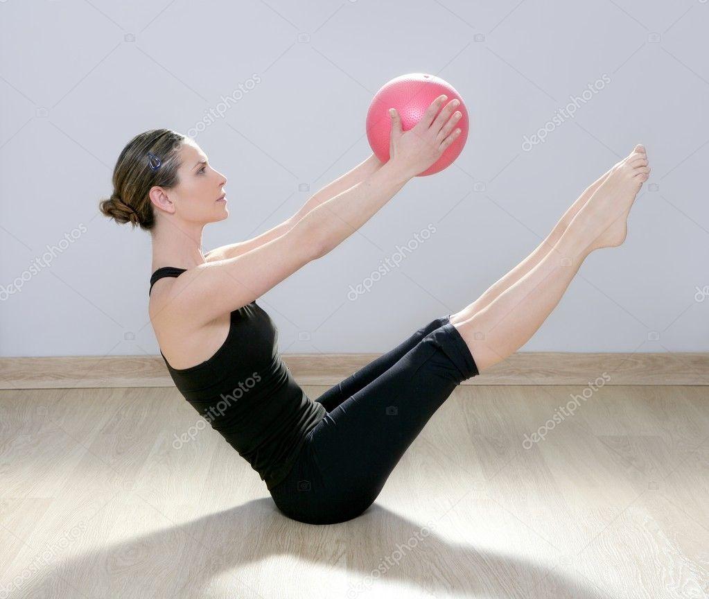 Woman Pilates Chair Exercises Fitness Stock Photo: Pilates Woman Stability Ball Gym Fitness Yoga