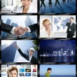 Stockfoto: Futuristic tv video news digital screen wall