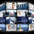 Black frame television multiple screen wall — Stock Photo #5309059