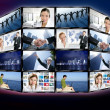 Futuristic tv video news digital screen wall — ストック写真