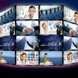 图库照片: Futuristic tv video news digital screen wall
