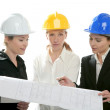 Architects woman working, isolated at studio — Stock Photo #5309075