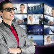 Cinema in new 3D glasses with boy spectator — Foto Stock
