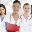 Doctors team group in a row white background — Stock fotografie