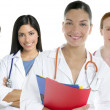 Doctors team group in a row white background — Foto Stock