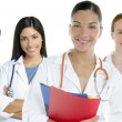Doctors team group in a row white background — Foto de Stock