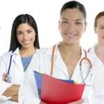 groupe équipe médecins dans un arrière-plan de ligne blanche — Photo