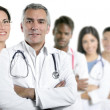 Expertise doctor multiracial nurse team row — Stock Photo