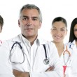 Expertise doctor multiracial nurse team row — Stock Photo #5309347