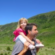 Explorer mountain little girl and father — Stock Photo