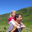 Explorer mountain little girl and father - Foto de Stock